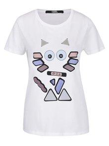 Bílé tričko s barevnou aplikací KARL LAGERFELD