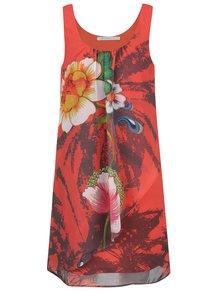 Rochie roșie Desigual Shayck cu model floral și croi lejer