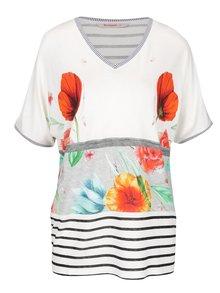 Krémové tričko s potlačou kvetín Desigual Maria Luisa