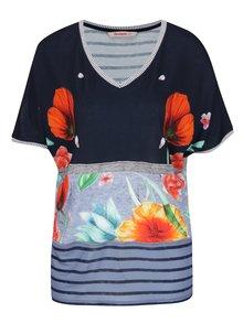 Modré tričko s potiskem květin Desigual Maria Luisa