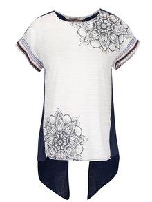 Modro-biele asymetrické tričko Desigual Creta