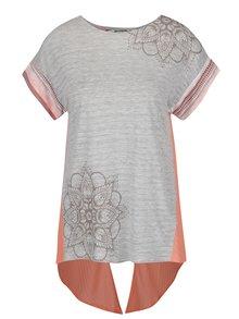 Tricou asimetric roz & gri Desigual Creta cu print și model