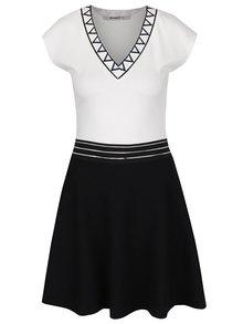 Krémovo-čierne šaty s véčkovým výstrihom Desigual Connecticut