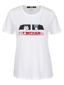 Biele tričko s plastickým nápisom a potlačou KARL LAGERFELD