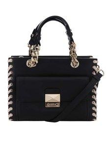 Čierna kožená kabelka s detailmi v zlatej farbe KARL LAGERFELD