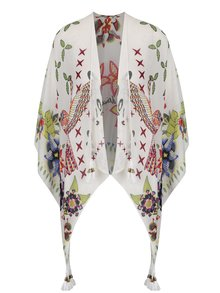 Poncho crem Desigual White Bird cu model