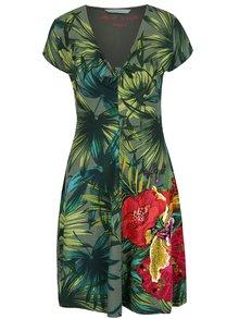 Rochie verde Desigual Maroni cu model floral și croi lejer