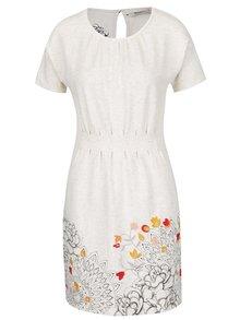 Krémové melírované šaty s motívom kvetín Desigual Crudo
