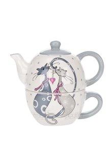Krémová čajová súprava s motívom mačiek 2v1 Dakls