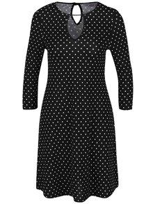 Černé puntíkované šaty s 3/4 rukávem Dorothy Perkins Petite