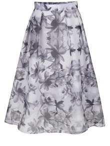 Fialovosivá kvetovaná midi sukňa Dorothy Perkins