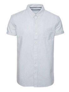 Cămașă alb & albastru Burton Menswear London din bumbac cu mâneci scurte și model în dungi