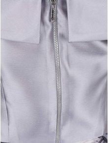 Světle šedé šaty s květovanou sukní a odhalenými rameny Dorothy Perkins