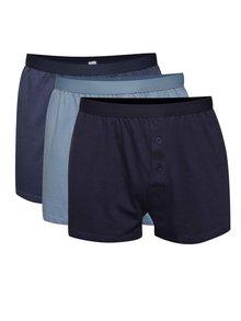 Sada tří boxerek v modré barvě M&Co