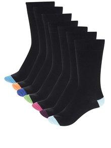 Set 7 perechi șosete negre cu detalii colorate M&Co