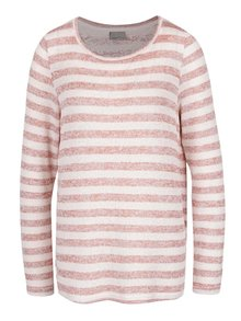 Ružový pruhovaný sveter s čipkovaným chrbtom VERO MODA Almond