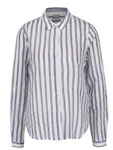 Modro-bílá košile s příměsí lnu VERO MODA Stripy