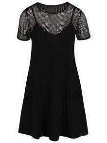 Černé šaty se síťovaným topem TALLY WEiJL