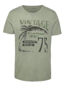 Tricou verde închis Jack & Jones Lewis din bumbac cu print