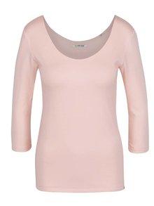 Světle růžové tričko s kulatým výstřihem a 3/4 rukávem Rich & Royal