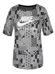 Černo-šedé dámské vzorované tričko s krátkým rukávem Nike