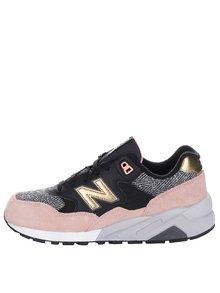 Růžovo-černé dámské kožené tenisky New Balance