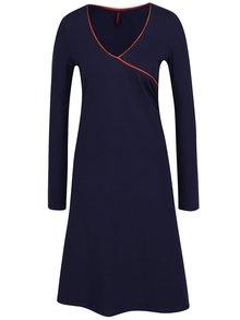Rochie lungă albastru închis Tranquillo Mila cu decolteu în V și detaliu portocaliu