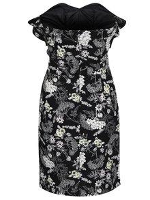 Čierne kvetované šaty bez ramienok Miss Selfridge