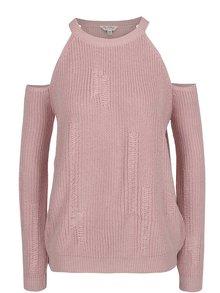 Svetloružový sveter s prestrihmi na ramenách Miss Selfridge