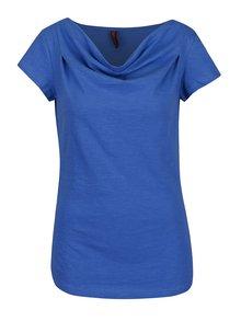 Tricou albastru Tranquillo Laisa din bumbac organic cu decolteu drapat