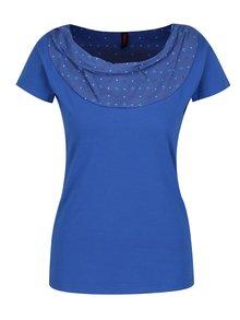 Tricou albastru închis Tranquillo Aaltje cu decolteu rotund, căzut și aplicație cu model