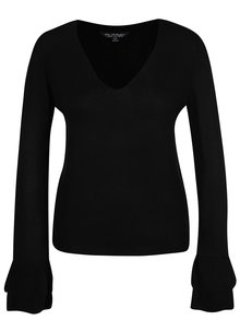 Čierny sveter s volánmi na rukávoch Miss Selfridge