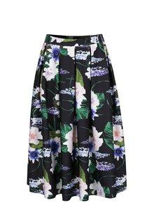 Černá skládaná sukně s květovaným motivem Dorothy Perkins