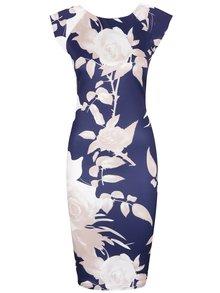 Tmavě modré květované šaty AX Paris