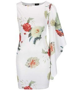 Krémové květované asymetrické šaty AX Paris
