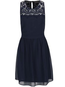 Tmavě modré šaty s krajkou VERO MODA Vanessa