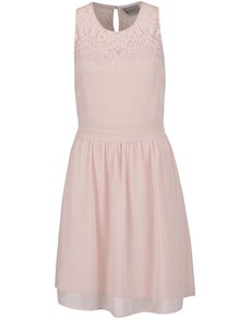 Svetloružové šaty s čipkou VERO MODA Vanessa