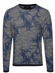 Krémovo-modrý vzorovaný svetr ONLY & SONS Pavel