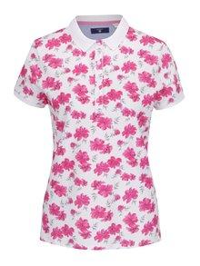 Růžovo-bílé dámské květované polo tričko GANT Pique