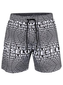 Bílo-černé pánské vzorované plavky s kapsou Diesel
