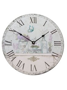 Krémové hodiny s potlačou Dakls
