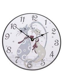 Biele hodiny s motívom mačiek Dakls