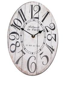 Krémové oválne hodiny Dakls