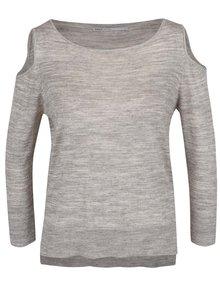 Sivý melírovaný sveter s prestrihmi na ramenách ONLY Caprice