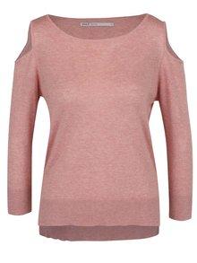 Starorůžový žíhaný svetr s průstřihy na ramenou ONLY Caprice