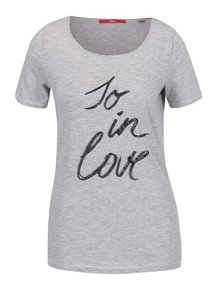 Tricou gri melanj s.Oliver cu print pentru femei