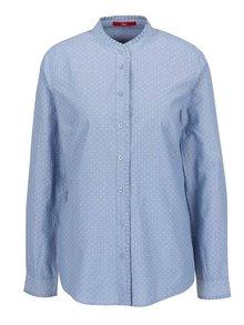 Modrá dámská vzorovaná košile bez límečku s.Oliver