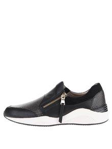 Pantofi sport negri Geox Omaya din piele cu model