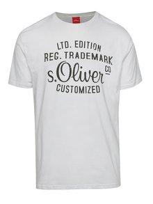 Tricou alb s.Oliver din bumbac cu logo print  negru