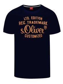 Tricou bleumarin s.Oliver din bumbac cu logo print